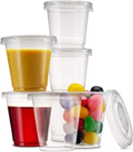 Durable, 3 OZ Plastic Cups/Bathroom Cups/Jello Shot Cups/Disposable, Clear and Fully Transparent. (100 Sets - Cups + Lids)