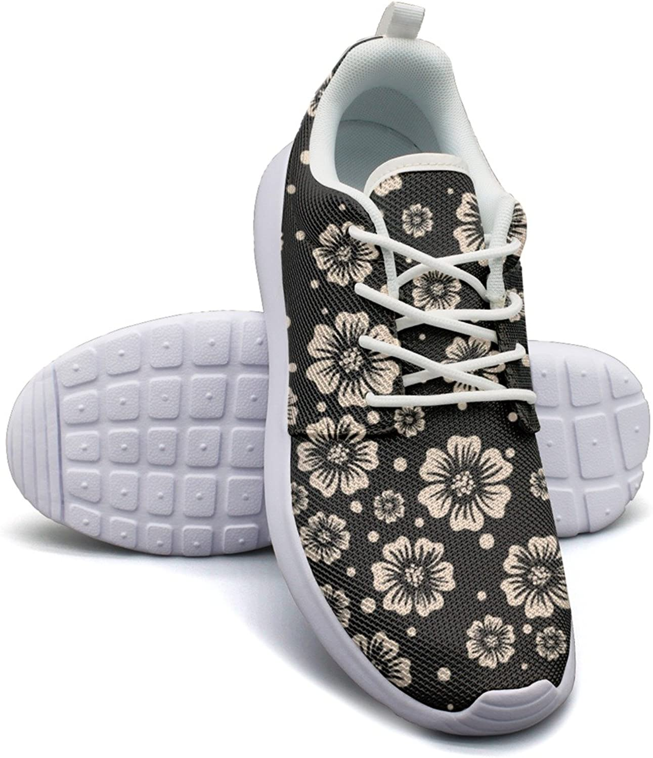 Eoyles gy Edible Flowers On A Dark Background Women Slip Resistant Lightweight Running shoes