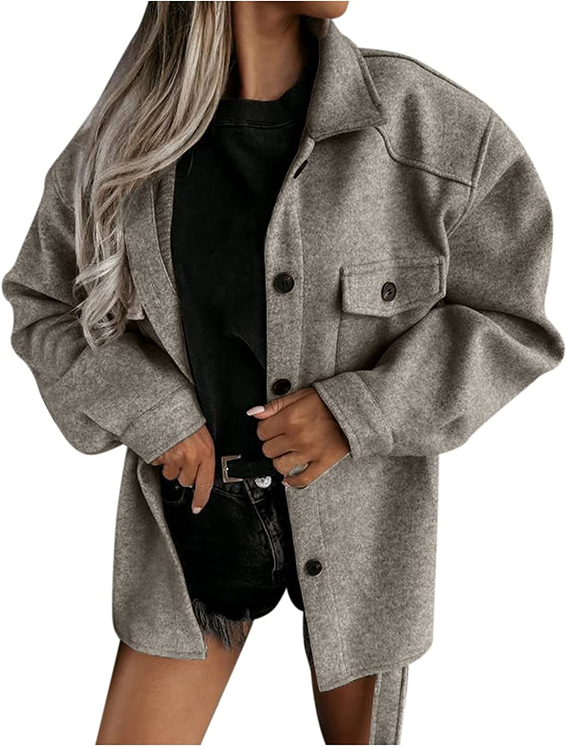 X2People Womens Woolen Cloth Coat Comfy Lapel Button Blouse Casual Loose Long Sleeve Jacket Open Front Outwear with Belt