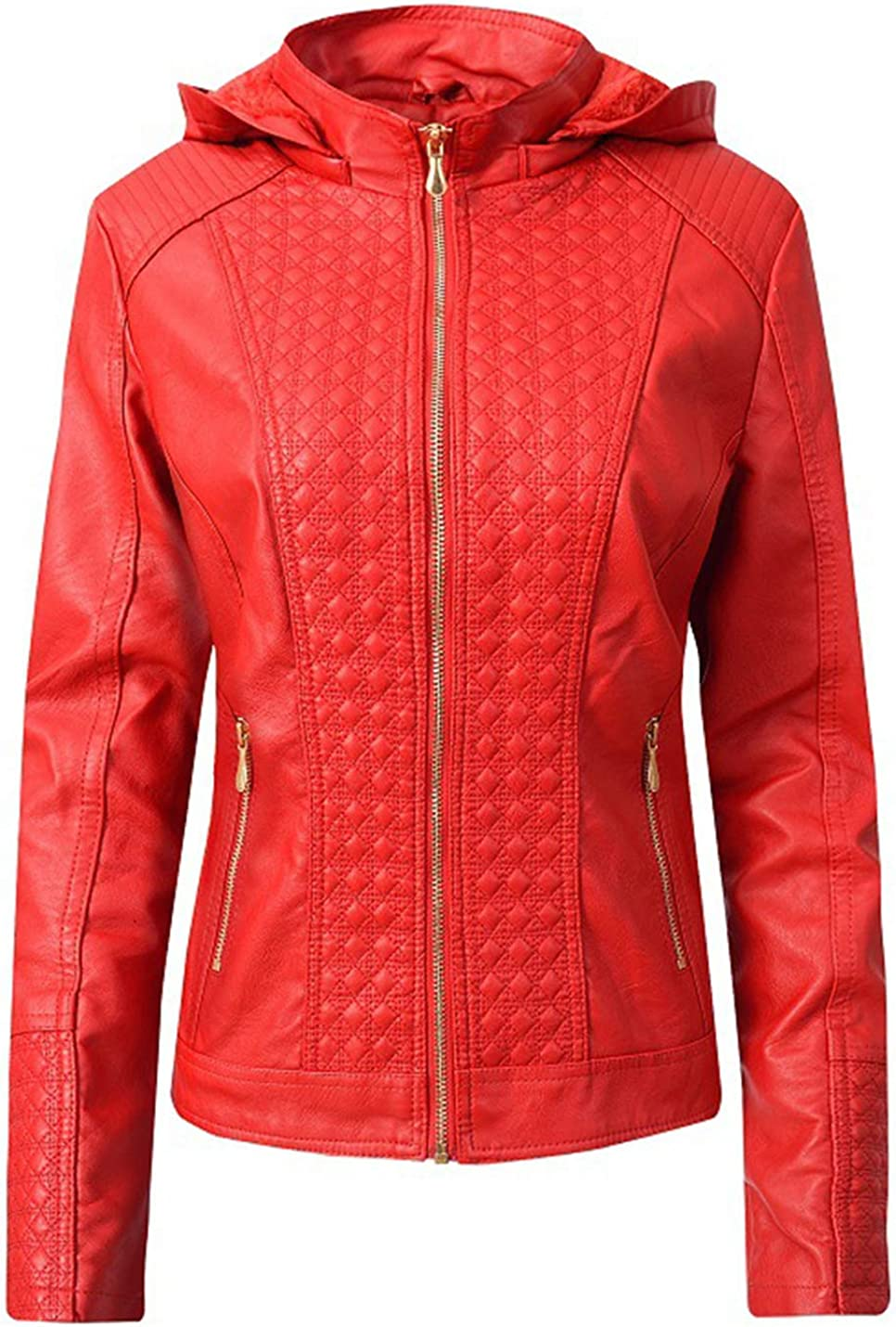 PAODIKUAI Women's Slim Fit Fleece Lined Warm Detachable Hood Faux Pu Leather Moto Biker Jacket for Winter