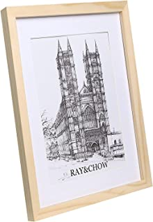 Ray & Chow A3 Natural Bare Picture Frame - Made to Display Pictures A4 with Mat or A3 Without Mat- Solid Wood- Glass Window- Wall Hanging