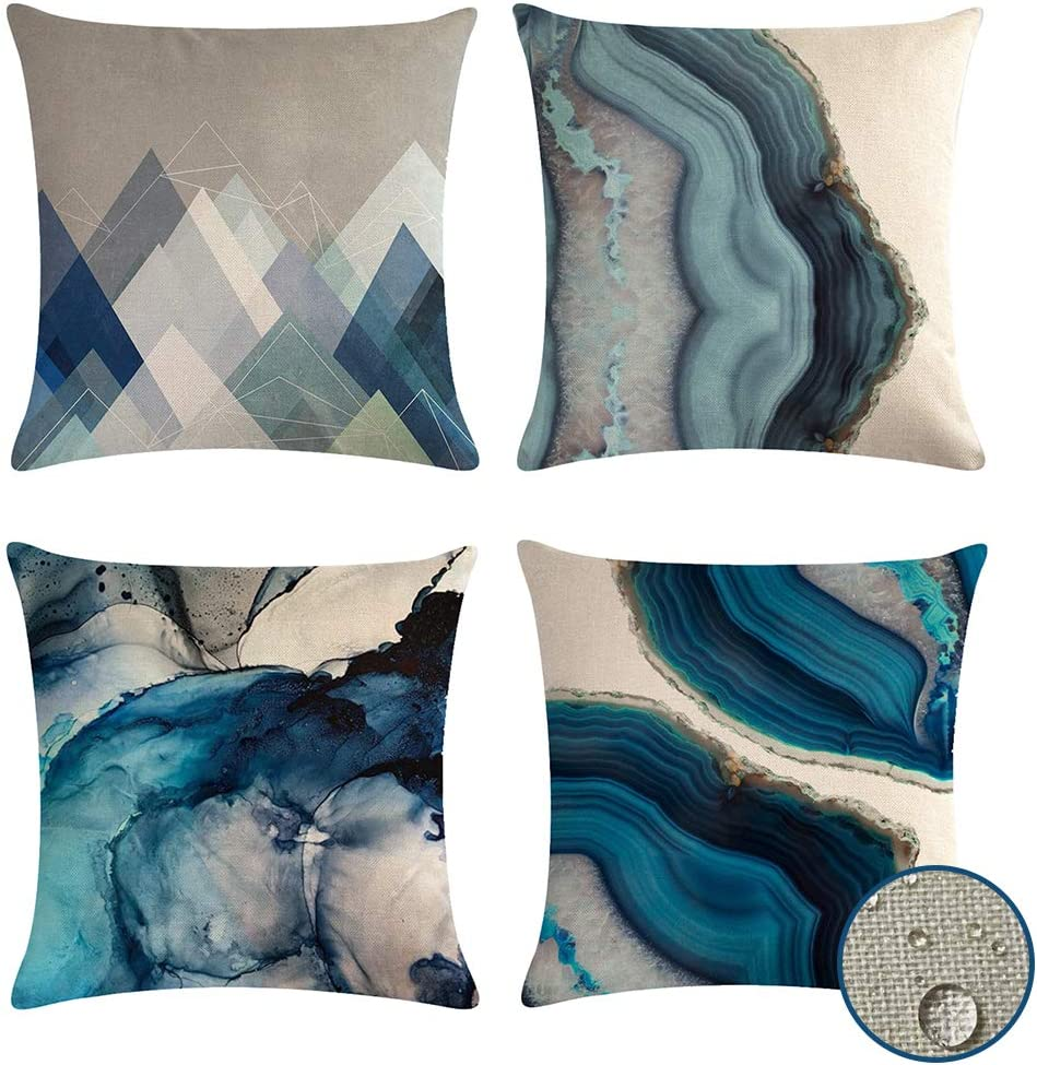 VIGVOG Set of 4 Waterproof Throw Pillow Covers, Decorative Patio Garden Cushion Cover Sofa Outdoor Indoor Pack of 4 Pillow Case 18 X 18 Inch (Waterproof-5)