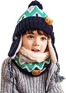 Kids Winter Knit Hat Scarf Set Warm Fleece Flap Cap Neck Warmer for Boys Girls Toddlers