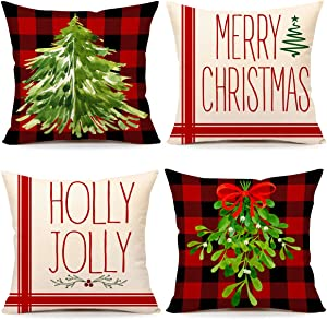 4TH Emotion Christmas Pillow Covers 18x18 Set of 4 Red Black Buffalo Plaid Farmhouse Christmas Decorations Green Mistletoe Holly Jolly Winter Holiday Decor Throw Cushion Case for Home Couch TH064-18