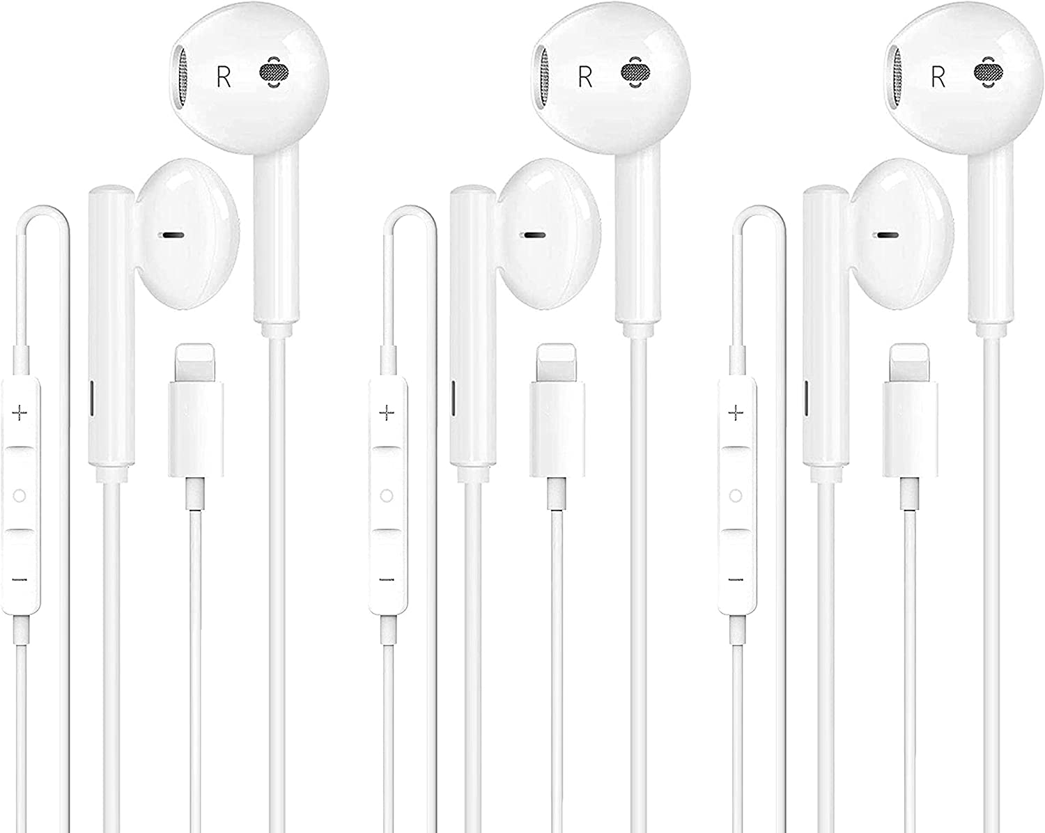 【3 Pack】 Lighting Connector Earbuds Earphone Wired Headphones Headset with Mic and Volume Control,Isolation Noise,Compatible with Apple Earbuds iPhone 12/11/X/8/7 Plus Plug and Play-White