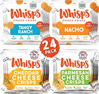 Whisps Cheese Crisps 24 Pack Assortment | Keto Snack, Gluten Free, Sugar Free, Low Carb, High Protein | Parmesan, Cheddar, Nacho, Ranch, 0.63oz (24 pack)
