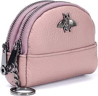 imeetu Women Coin Purse Mini Pouch Leather Change Wallet 2 Zipper with Keychain
