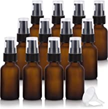 1 oz / 30 ml Frosted Amber Glass Boston Round Black Treatment Pump Bottle (12 pack) + Funnel for E-liquid, Essential oils, Cosmetics, Skincare, Aromatherapy, Travel
