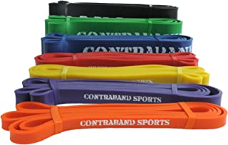 Contraband Sports 7419 41in Loop Elastic Resistance Bands,  Weight Lifting Bands,  Powerlifting Bands,  Pullup Assistance Bands,  and Yoga Stretch Bands - Perfect for Gym,  Home,  or Travel