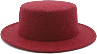 HaiNing Zheng Boater Flat Top Hat For Women's Men' Felt Wide Brim Chapeu de Feltro Gambler Prok Pie Fedora Hat
