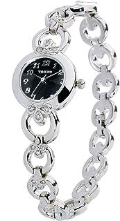 Time100 Women's Fashion Unique Luxury Diamond Round Dial Leaf Shape Bracelet Ladies Quartz Wrist Watches …