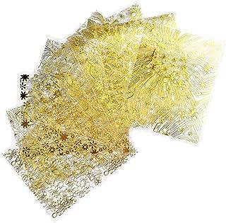 Beaupretty 8pcs 3D Gold Metal Nail Studs Metallic Nail Decals Golden Leaf Flowers Metal Nail Art Stickers Water Transfer Nail Tattoo (Gold)