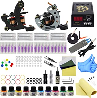 Wormhole Tattoo Complete Tattoo Kit 2 Pro Tattoo Machine for Beginners Tattoo Power Supply Kit 10 Tattoo Inks 20 Tattoo Needles Tattoo Supplies TK1000040