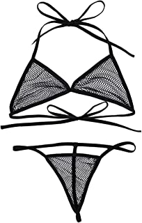 FEESHOW Women Fishnet Extreme Bikini Halterneck Top and Micro Thong Sets