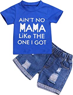 GRNSHTS Infant Toddler Baby Boys Summer Outfit Set,Short Sleeve Letter Print T-Shirt Beach Shorts Pants Clothes
