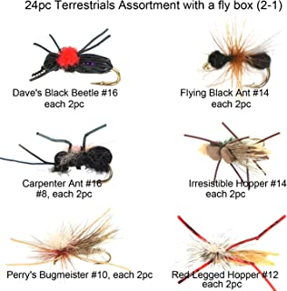 Riverruns Best Assortment 12 Terrestrials Collection Total 24 Flies with A Fly Box, Amy's Ant, Dave's Foam Hopper, Legged Hopper, Irresistible, Flying Black Ant, Lady Bug Adult Wet Dry Fishin