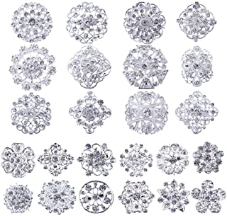 Mutian Fashion Lot 24pc Clear Rhinestone Crystal Flower Brooches Pins Set DIY Wedding Bouquet Broaches Kit