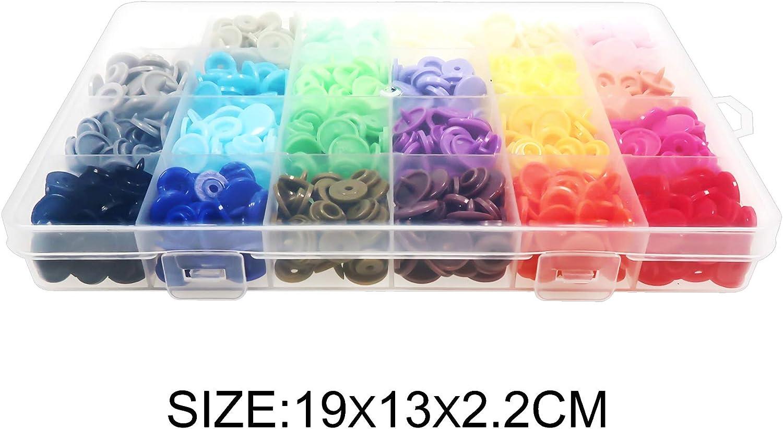 TOAOB 240 Set 24 Colores 12 mm Botones Redondos de T5 Pl/ástico Bot/ón de Presi/ón para Ropa DIY y Manualidades