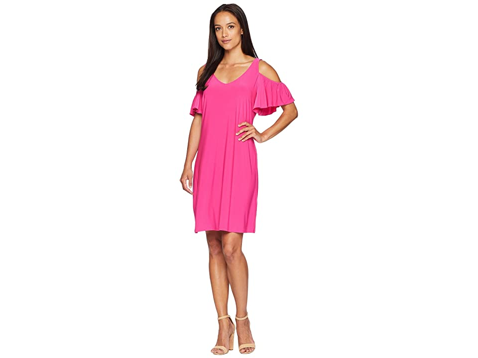 American Rose Suri Cold Shoulder Ruffle Sleeve Dress (Pink) Women