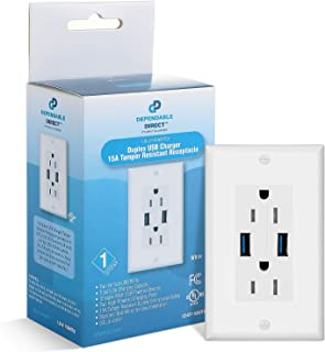 (2 Pack) 5.0A Dual High Speed USB Wall Outlet Charger - 15A Tamper-Resistant Receptacle with White Wall Plate - UL Listed - Compatible with Apple iPhone, Samsung Galaxy, LG, HTC Smartphone