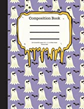 Composition Book 100 Sheet/200 Pages 8.5 X 11 In.-Wide Ruled- Ghosts Bats: Halloween Notebook for Kids - Student Journal -...