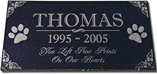 Best You Left Paw Prints on Our Hearts Pet Memorial Stones Personalized Headstone Grave Marker Absolute Black Granite Garden Plaque Engraved with Dog Cat Name Dates Review