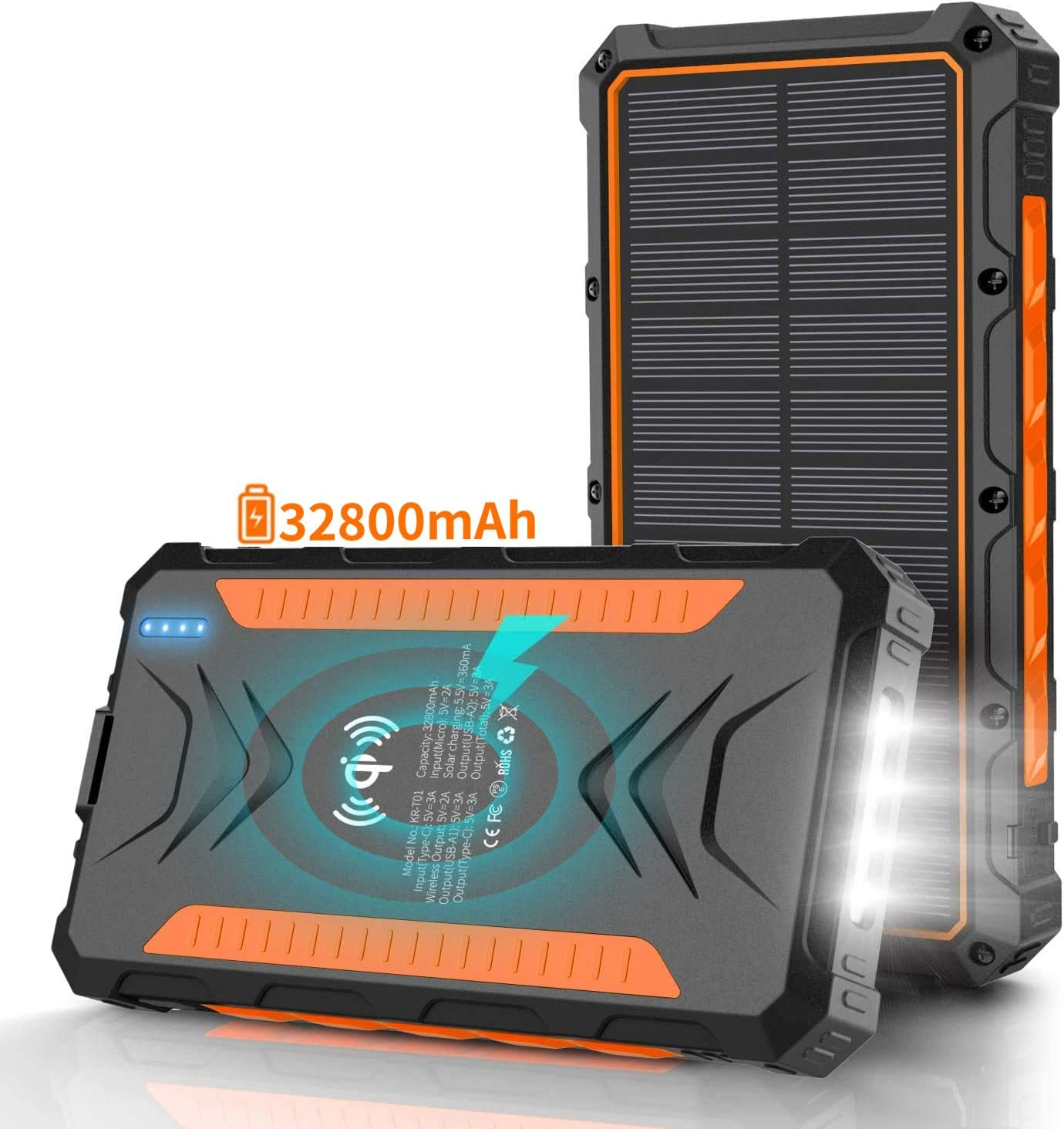 Solar Power Bank 32800mAh, Charger,Portable Charger, Outputs Orange