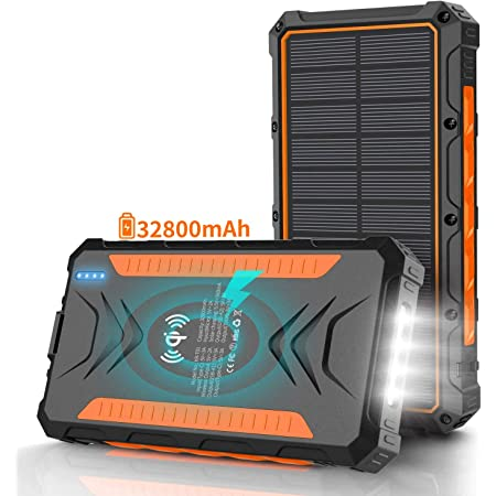 Solar Power Bank 32800mAh, Solar Charger,Portable Charger, Outputs 5V/3A High-Speed & 2 Inputs Huge Capacity Phone Charger for Smartphones, IP66 Rating, Strong Light LED Flashlights(Orange)