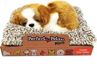 """Perfect Petzzz Puppy Toys for Kids Cute Lifelike Dogs & Cats  Mini 3.5""""x4.5""""   Realistic Adorable Stuffed Animals, Makes Snoring Sounds, Gift for Holidays or Birthday (Cavalier King Charles)"""