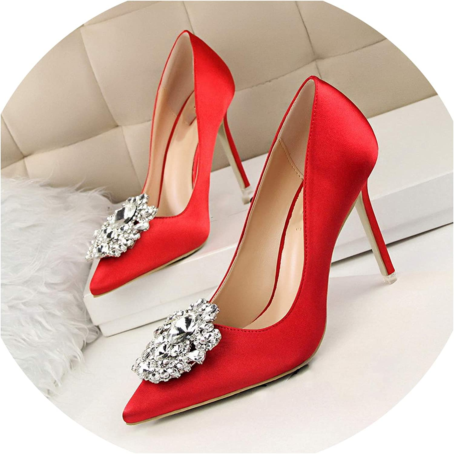 Lost Stars Women Pumps Elegant Rhinestone Silk Satin High Heels shoes Sexy Thin Pointed Single shoes 7 color