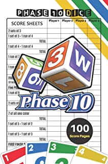 Phase 10 Score Sheets: V.4 Perfect 100 Phase Ten Score Sheets for Phase 10 Dice Game 4 Players - Nice Obvious Text - Small...