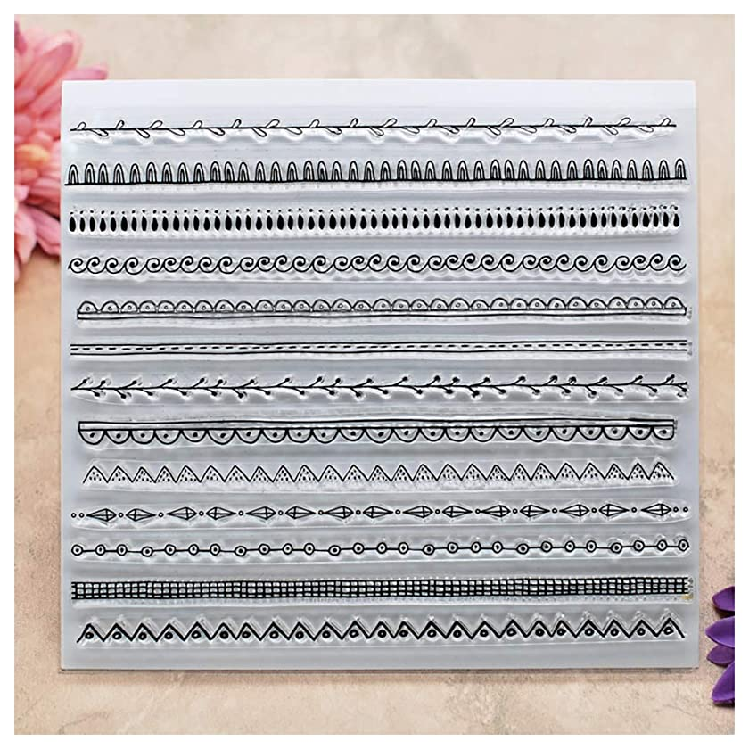Kwan Crafts Lace Line Clear Stamps for Card Making Decoration and DIY Scrapbooking
