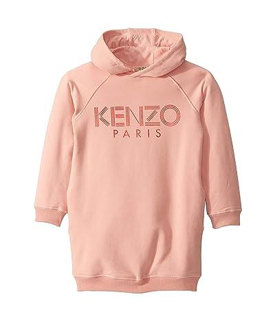 Kenzo Kids Hooded Jumper Dress with Logo (Big Kids) (Middle Pink) Girl