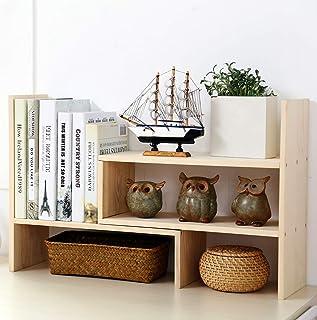 Garwarm Desktop Organizer,Adjustable Natural Wood Office Storage Rack,Display Shelf Rack, Counter Top Bookcase,free style ...