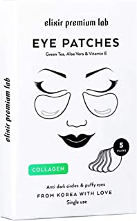 Collagen Eye Patches - Moisturizing Under Eye Pads - Anti Puffiness & Dark Circles Spa Treatment - Best Hydrogel Eye Moisturizer for Women & Men - Gel Masks for Dry Skin Under Eye Zone, 5 Pairs