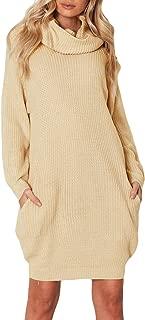 AlvaQ Women's Loose Turtleneck Pullover Sweater Dress Pockets