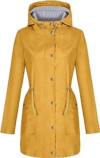 Rain Jacket Women Lightweight Raincoat Waterproof Windbreaker Striped Climbing Outdoor Hooded Trench Coats S-XXL