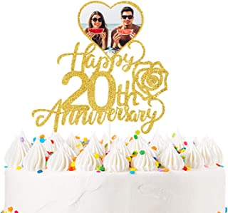 Happy 20th Anniversary Photo Cake Topper for Twenty Years Wedding Anniversary, Birthday Party Decoration-Double sides Gold...