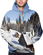 Men's Hoodies Sweatershirt,Log Cabins in The Mountains Sunny Winter Day Rural Scene Holiday Vacation,
