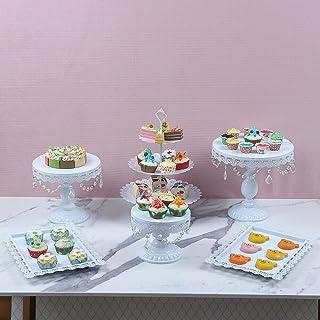 SHZICMY Lot de 6 présentoirs à gâteaux de mariage Blanc