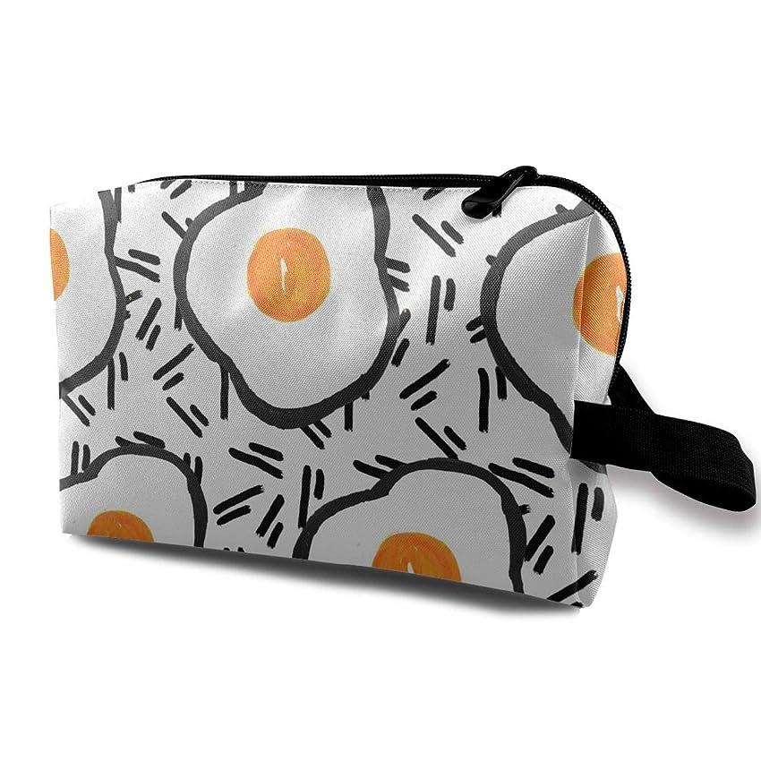 タオルシリーズ謎めいたレディース 化粧ポーチ トラベル収納ポーチ トイレタリーバッグ 卵プリント コスメ メイクポーチ ハンドバッグ 大容量 化粧品 鍵 小物入れ 軽量