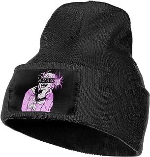 Evmjser Sad Japanese Aesthetic Anime Winter Warm Soft Fashion Knit Cap Beanie Hats for Mens Womens Black