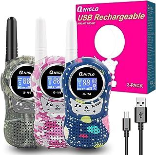 comprar comparacion QNIGLO Q168Plus Walkie Talkie Niños Recargables,8 Canales Radio Bidireccional 2 Kms de Largo Alcance PMR,Equipo de Espía,M...
