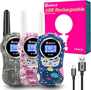QNIGLO 3-Pack Rechargeable Walkie Talkies, 22 Channels FRS Walkie Talkies for Kids, Kids Walkie Talkies with Rechargeable Battery, Girls/Boys Toys for Hiking, Camping, Outdoor (Pink+Blue+Green)