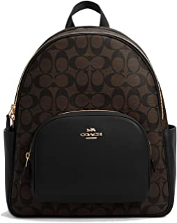 Women's Court Backpack In Signature Canvas (Brown - Black)