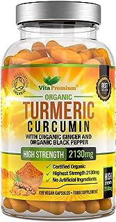 Curcumina de Cúrcuma Orgánica, 500 mg, Con Pimiento Negro