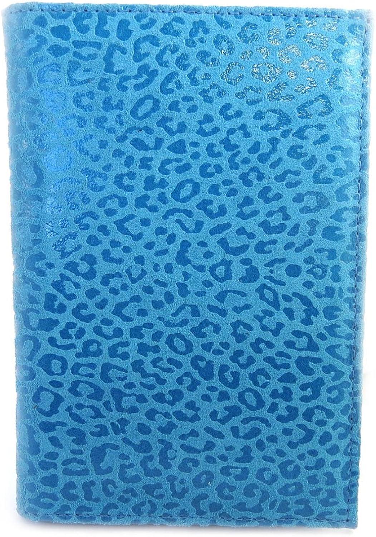 Leather wallet 'Frandi' turquoise (leopard).