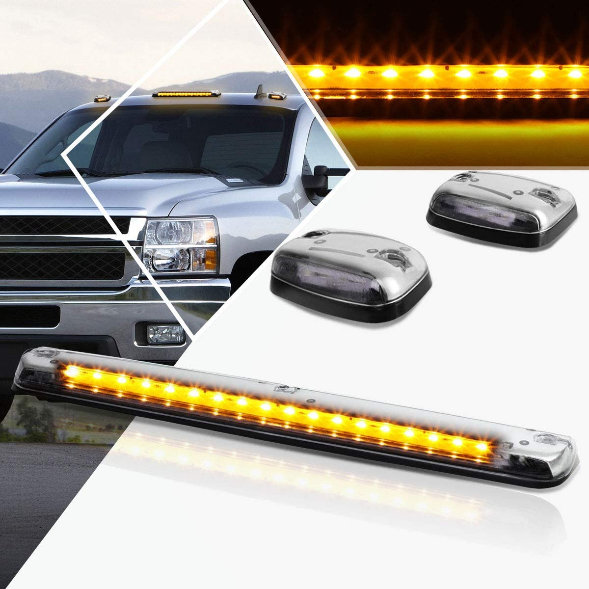 3Pcs-Set Indefinitely Yellow LED Cab Roof with Max 64% OFF Compatible Running 07-13 Light