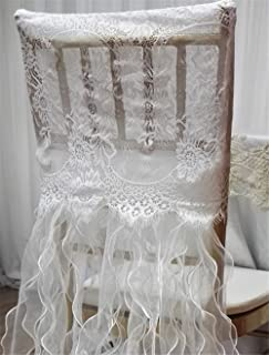 White lace chiavari Chair Back Cover Organza Curly Willow Sashes for Wedding Decor