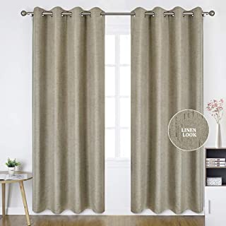 HOMEIDEAS Linen Curtains- Falling Star Faux Linen Textured Window Curtains for Bedroom and Living Room, Thermal Insulated Grommet Top Drapes (52 x 95 Inches, Beige, 2 Panels)